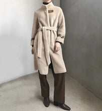 Load image into Gallery viewer, Lamb Wool Genuine Sheep Shearing Fur Belted Teddy Coat - Beyazura.com
