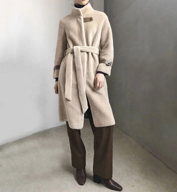 Lamb Wool Genuine Sheep Shearing Fur Belted Teddy Coat - Beyazura.com
