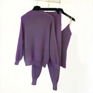 Purple Ribbed Knit Chain Camisole Cardigan Pants Three Piece Set - Beyazura.com