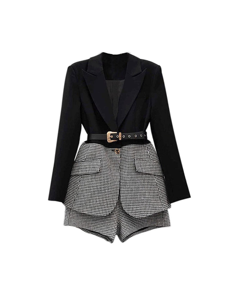 Houndstooth Belted Jacket and Wide Leg Shorts Two Piece Set - Beyazura.com