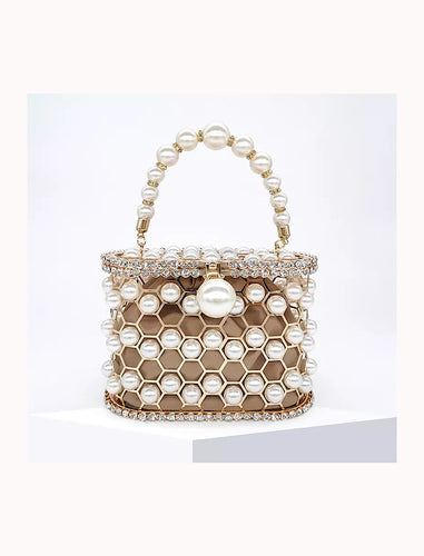 Pearled and Crystallized Cage Handle Clutch - Beyazura.com