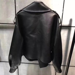 Oversized Fit Big Collar Leather Jacket - BEYAZURA.COM