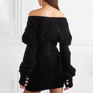 Velvet Puff Sleeve V Neck Crystal Button Mini Dress - Beyazura.com