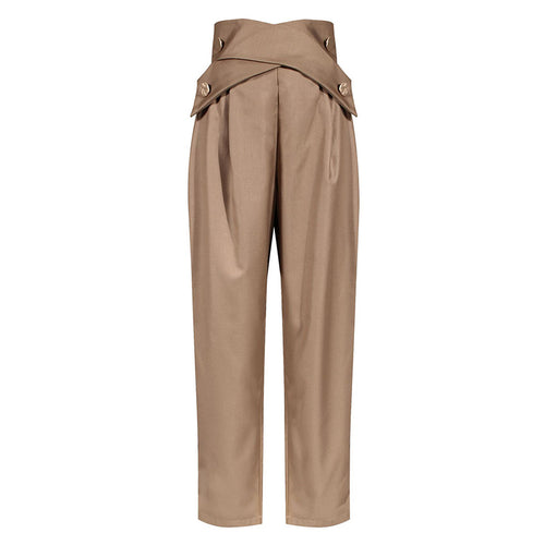 Brown High Waisted Ruched Gold Button Pants - BEYAZURA.COM