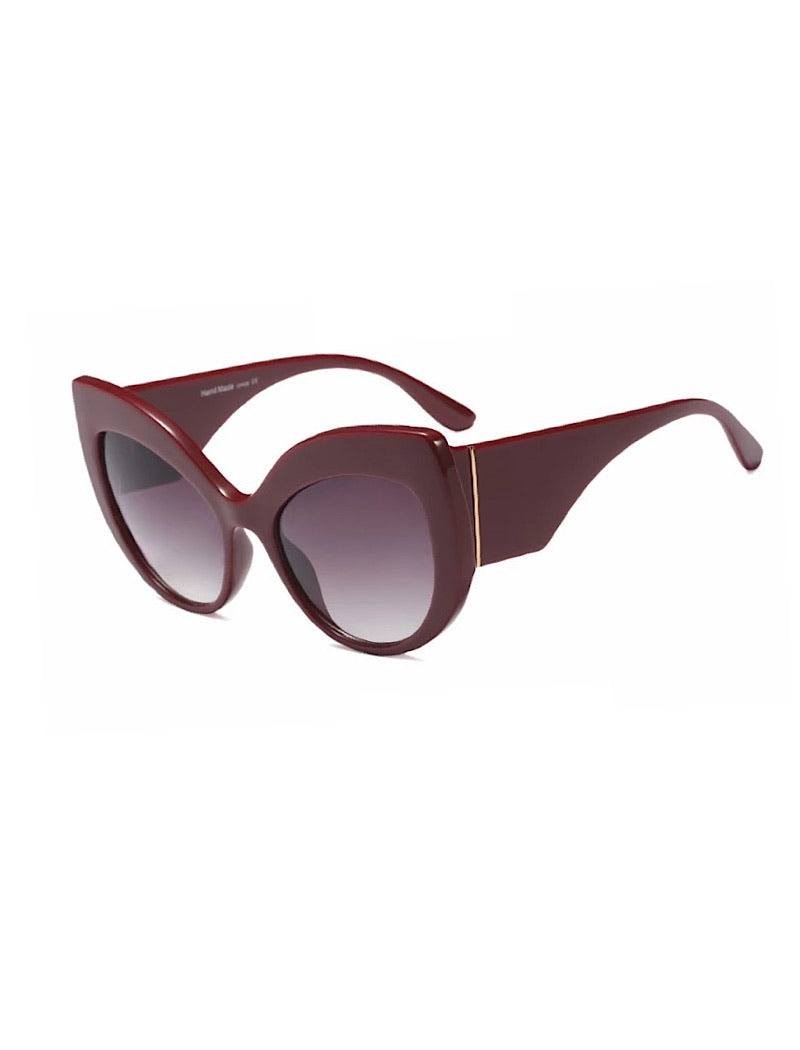 Thick Frame Cat Eye Sunglasses With Red Lenses - Beyazura.com
