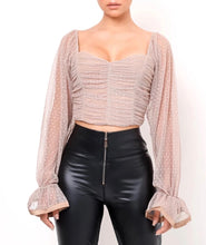 Load image into Gallery viewer, Blush Pink Polka Dot Transparent Sleeve Ruched Crop Top - BEYAZURA.COM