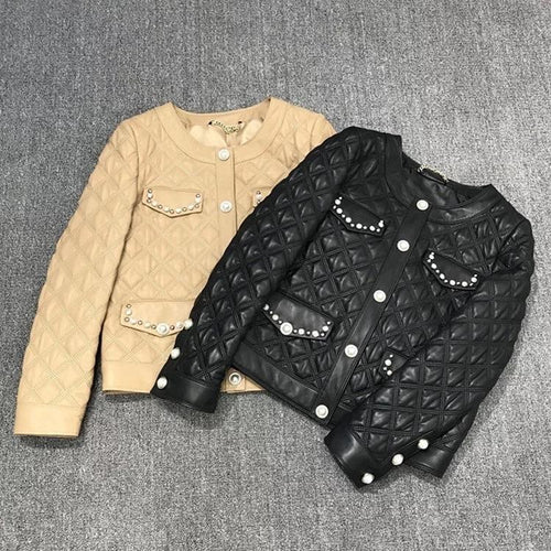 Sheepskin Studded Quilted Leather Jacket - BEYAZURA.COM