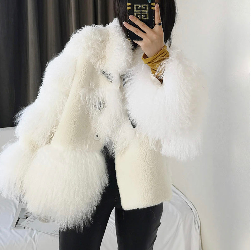 OVERSIZED LAMB FUR SHEEPSKIN LEATHER COAT
