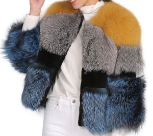 Three Color Fox Fur Coat - BEYAZURA.COM