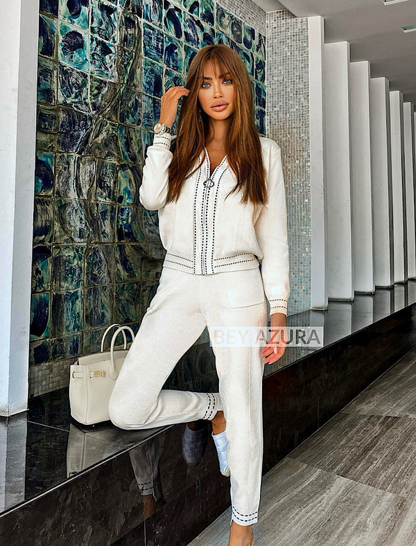Ribbed Knit Zipper Cardigan And Trouser Two Piece Set - Beyazura.com