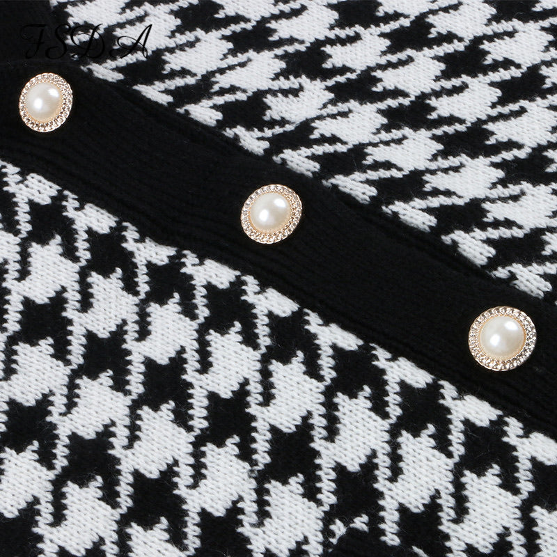 Houndstooth Pattern Knit Long Cardigan - Beyazura.com