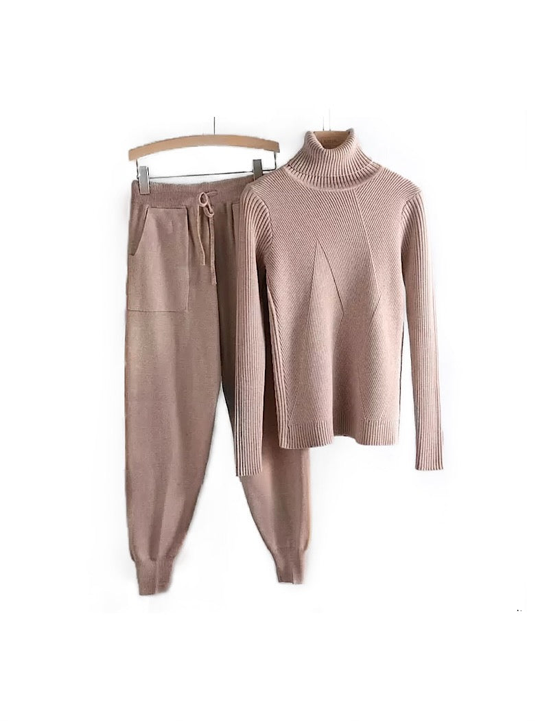 Ribbed Knit Turtleneck Long Sleeve Sweater Top and Pants Two Piece Set - BEYAZURA.COM