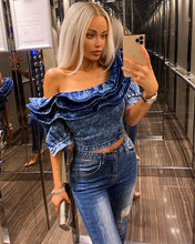 Load image into Gallery viewer, Ruffle Off The Shoulder Denim Top - Beyazura.com