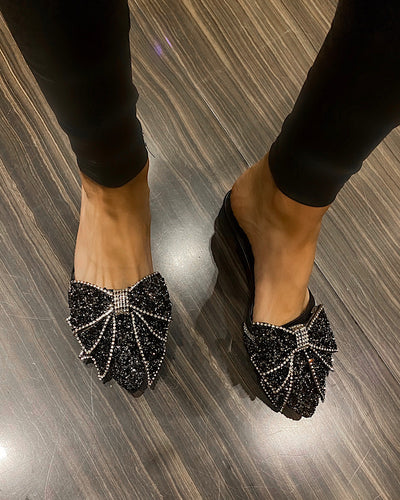Extra Sparkly Pointed Toe Ribbon Slides - BEYAZURA.COM