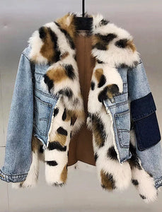 Sporty Denim Jacket With Sheepkin And Sheep Fur Trims - BEYAZURA.COM