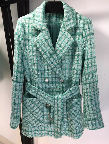 Green Tweed Big Pocket Belted Jacket - BEYAZURA.COM