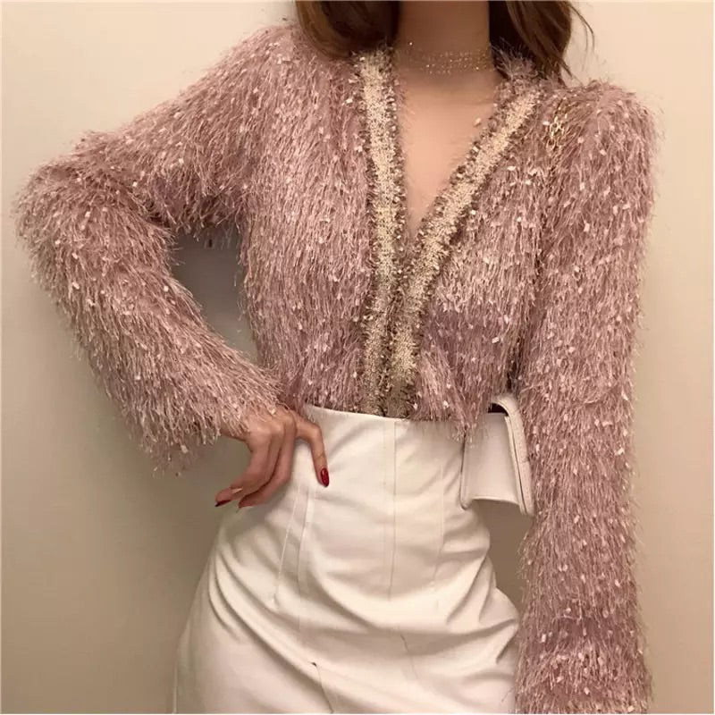 CHIC TASSEL V NECK CARDIGAN