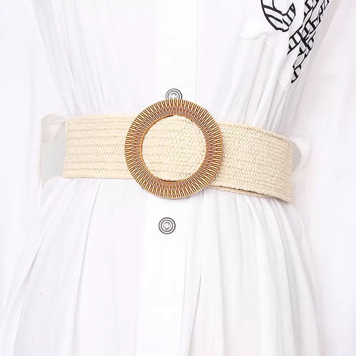 Beige Wide Striped Straw Round Buckle Belt - BEYAZURA.COM
