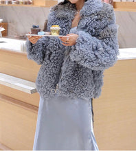 Load image into Gallery viewer, Genuine Studded Sheepskin Leather Dyed Sheep Fur Coat - Beyazura.com