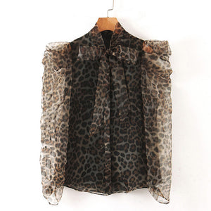 Sheer Sleeve Leopard Print Bow Neck Shirt - BEYAZURA.COM