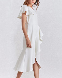 One Shoulder Ruffle Midi Dress - BEYAZURA.COM