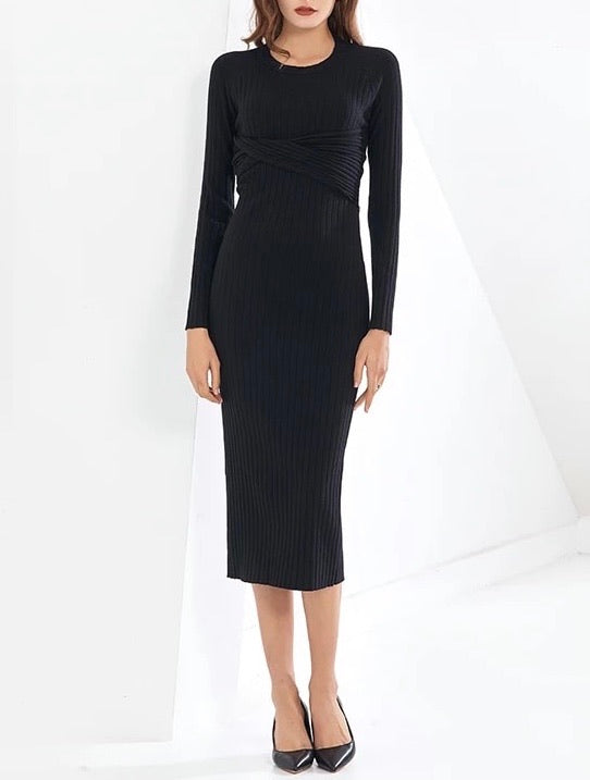 Ribbed Knit Slim Dress With Back Cleavage - BEYAZURA.COM