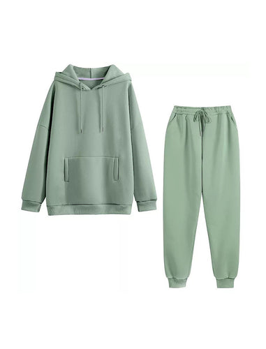 Green Long Sleeve Top Hoodie and Jogging Pant Coord Set - BEYAZURA.COM