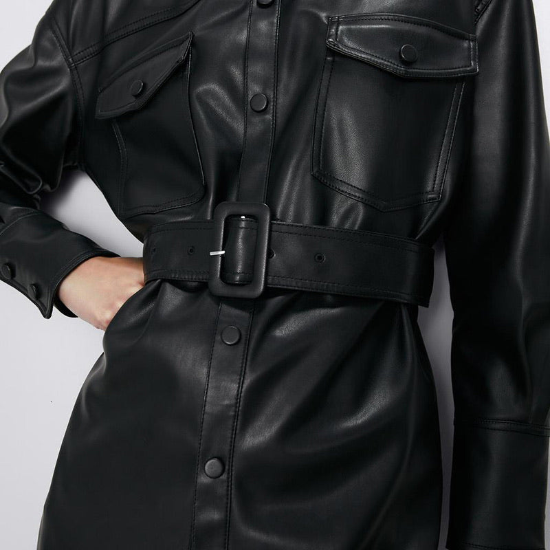 Vegan Leather Button Down Belted Jacked - BEYAZURA.COM