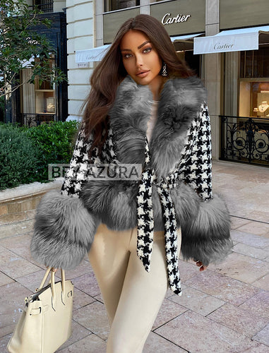 Houndstooth Fox Fur Trim Belted Wool Jacket - BEYAZURA.COM