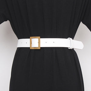 White Bulky Gold Chain Belt - BEYAZURA.COM