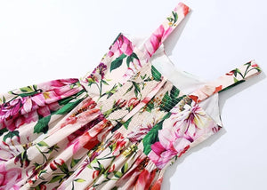 Multi Color Flower Print Summer Dress - BEYAZURA.COM
