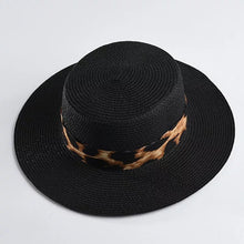 Load image into Gallery viewer, Black Paper Straw Summer Hat With Leopard Ribbon - BEYAZURA.COM