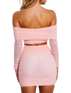 Pink Mesh Bandage Two Piece Set