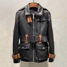 Load image into Gallery viewer, Lambskin Leather Contrast Belted Jacket - BEYAZURA.COM
