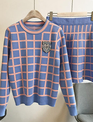 Knit Plaid Skirt and Pullover Two Piece Set