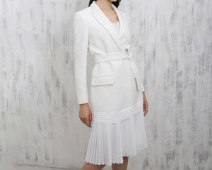 Pleated Skirt Tie Belted Blazer Dress - BEYAZURA.COM