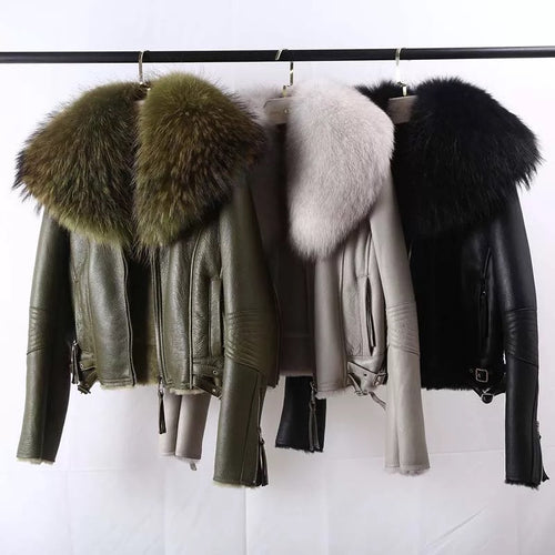 Shearling Sheepskin Fox Fur Collar Biker Jacket - BEYAZURA.COM