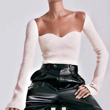 Load image into Gallery viewer, Ribbed Knit Asymmetrical Long Sleeve Top - BEYAZURA.COM