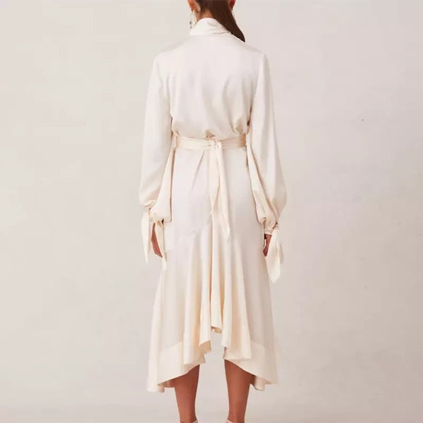 Beige Button Down Ruffle Skirt Shirt Dress - Beyazura.com