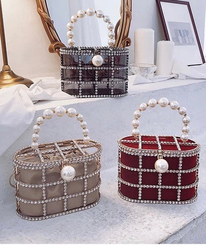 Crystallized Cage Pearl Handle Clutch - Beyazura.com