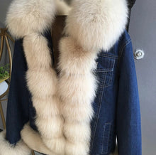 Load image into Gallery viewer, Fox Fur Trimmed Parka Denim Coat With Rabbit Fur Lining - BEYAZURA.COM