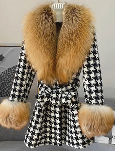 Midi Length Houndstooth Red Fox Fur Trim Belted Wool Jacket