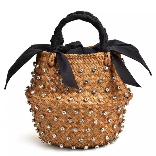 Diamond Decorated Straw Bucket Bag with Black Lining - Beyazura.com
