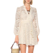 Load image into Gallery viewer, Beige Paisley Lace Big Sleeve Summer Dress - BEYAZURA.COM