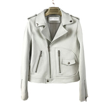 Load image into Gallery viewer, Sheepkin Leather Biker Jacket With Asymmetrical Zippers - Beyazura.com