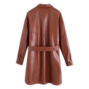 PU Leather Pocket Detailed Belted Shirt Dress in Brown - BEYAZURA.COM