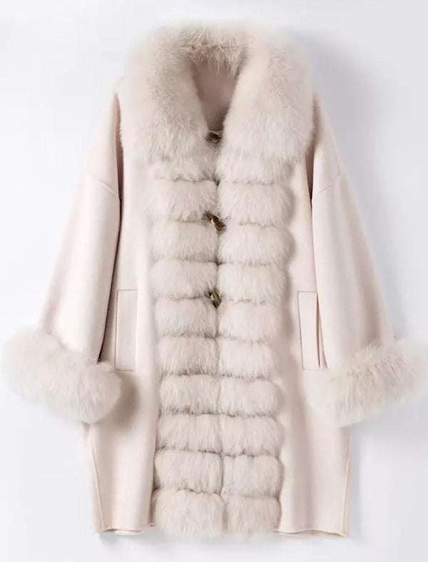 Luxury Wool Cashmere Coat With Fox Fur Trims - Beyazura.com