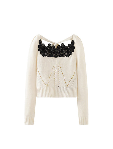 White Long Sleeve Knit Embroidered Top - BEYAZURA.COM