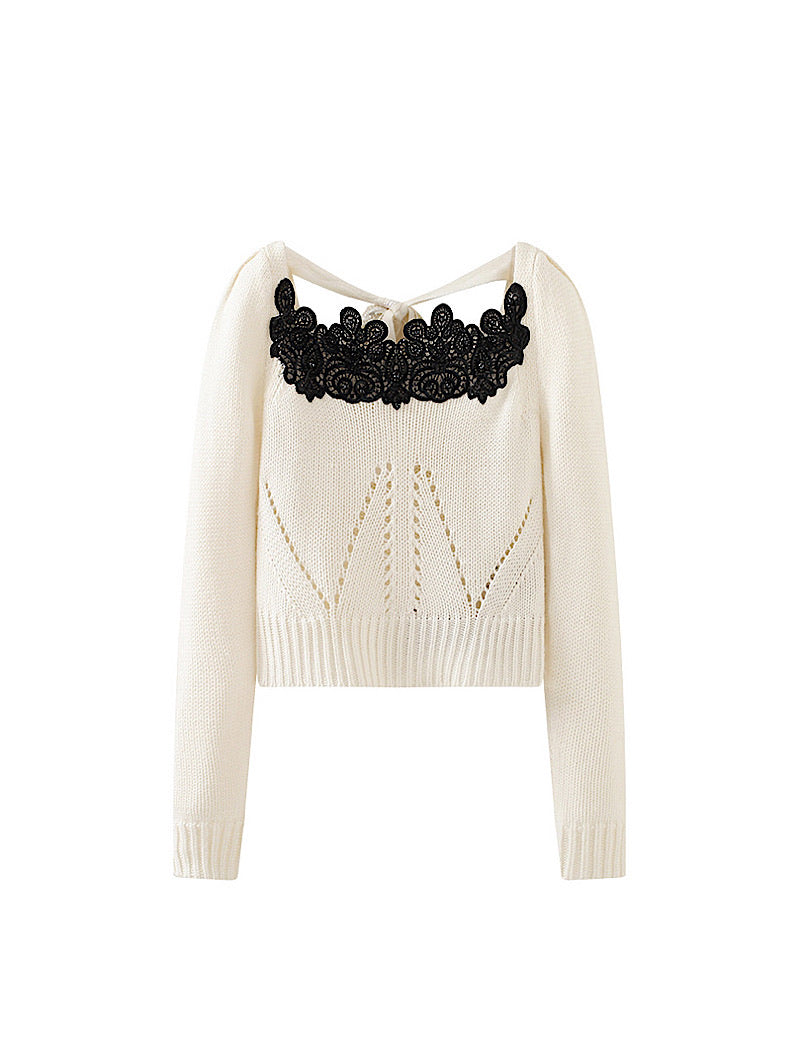White Long Sleeve Knit Embroidered Top