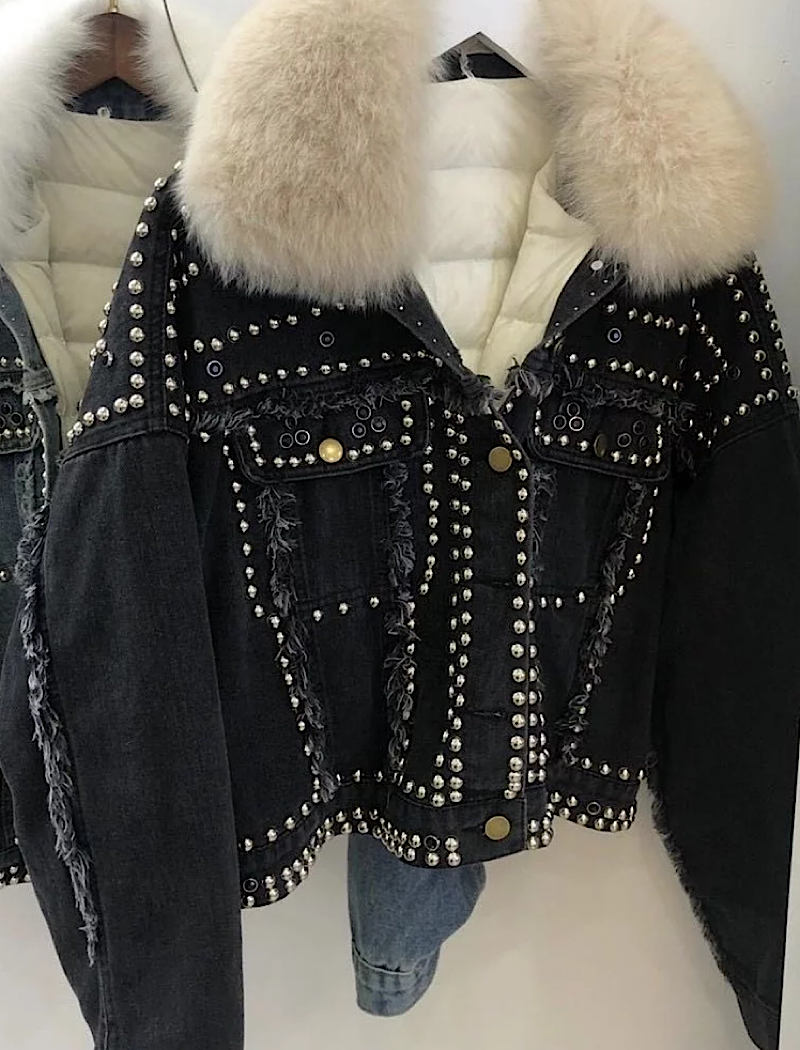 Detachable Fur Trimmed Black Denim Jacket With Studs - Beyazura.com